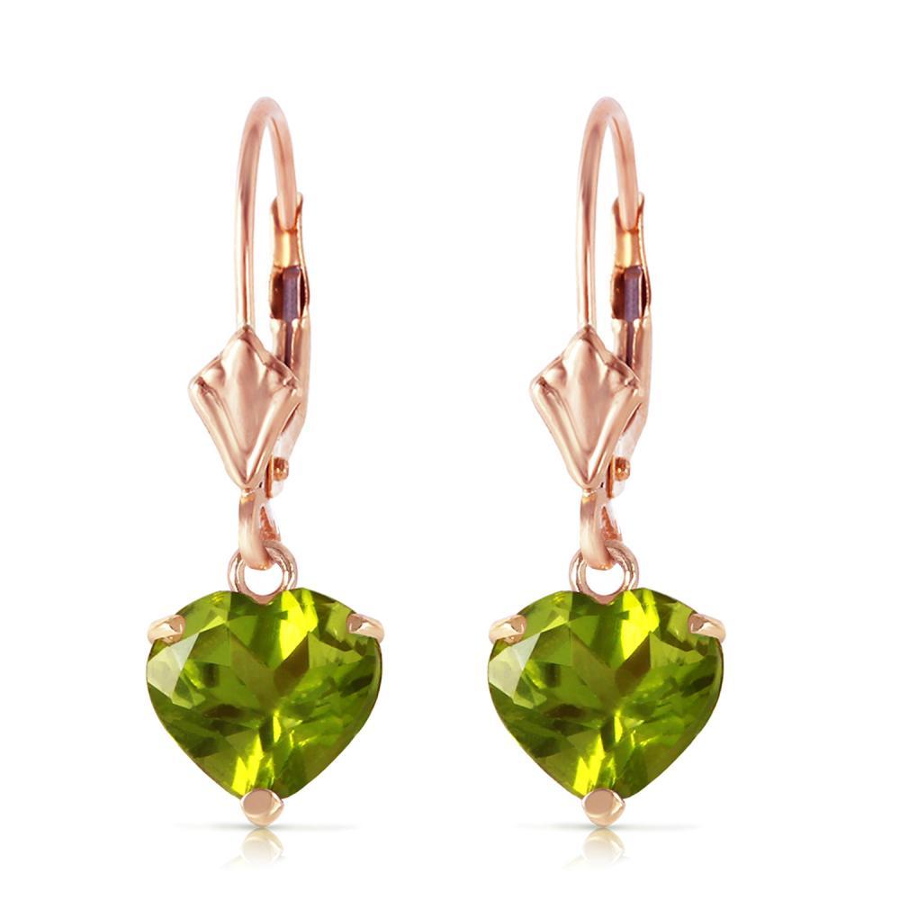 Genuine 3.25 ctw Peridot Earrings Jewelry 14KT Rose Gold - REF-29H2X