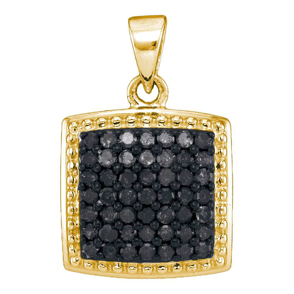 0.50 CTW Black Color Diamond Square Cluster Pendant 10KT Yellow Gold - REF-24N2F