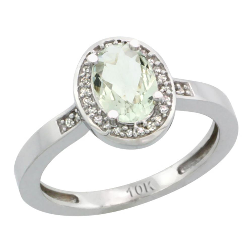 Natural 1.08 ctw Green-amethyst & Diamond Engagement Ring 10K White Gold - REF-25N5G