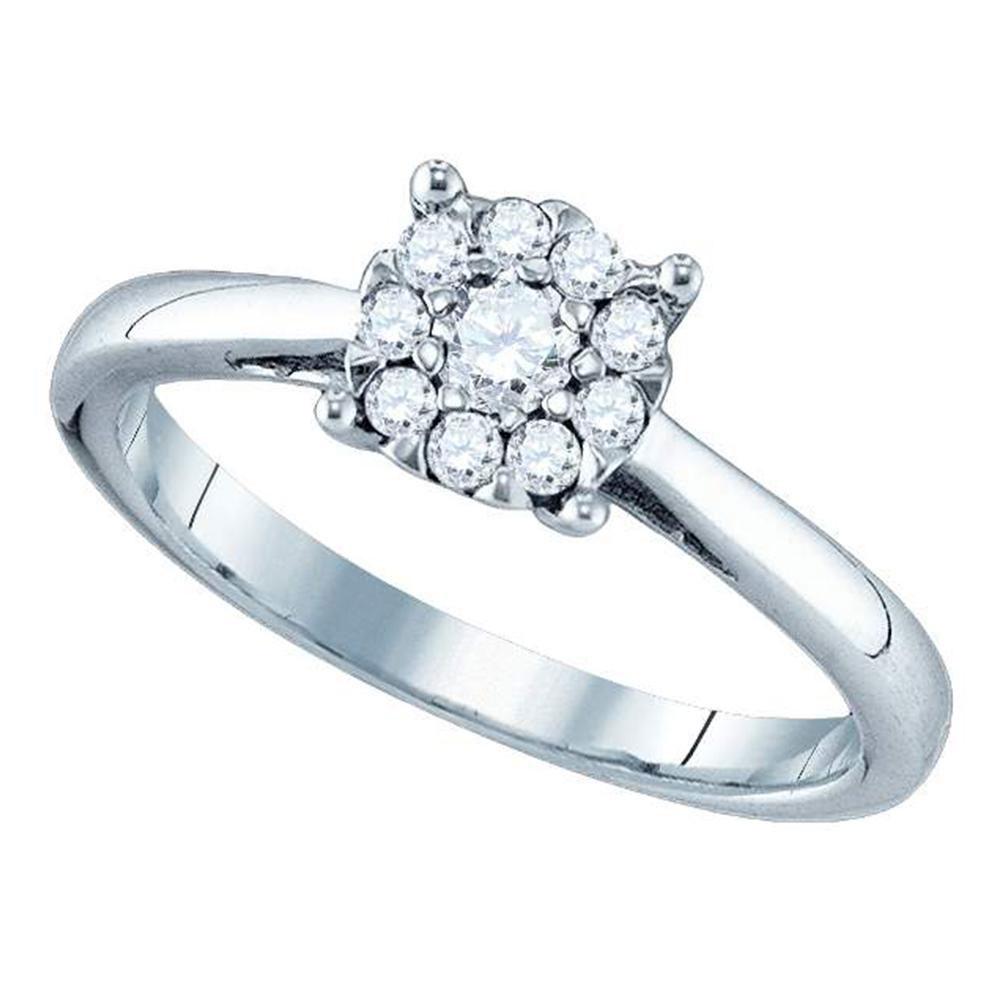 0.72 CTW Diamond Cluster Bridal Engagement Ring 18KT White Gold - REF-149N9F