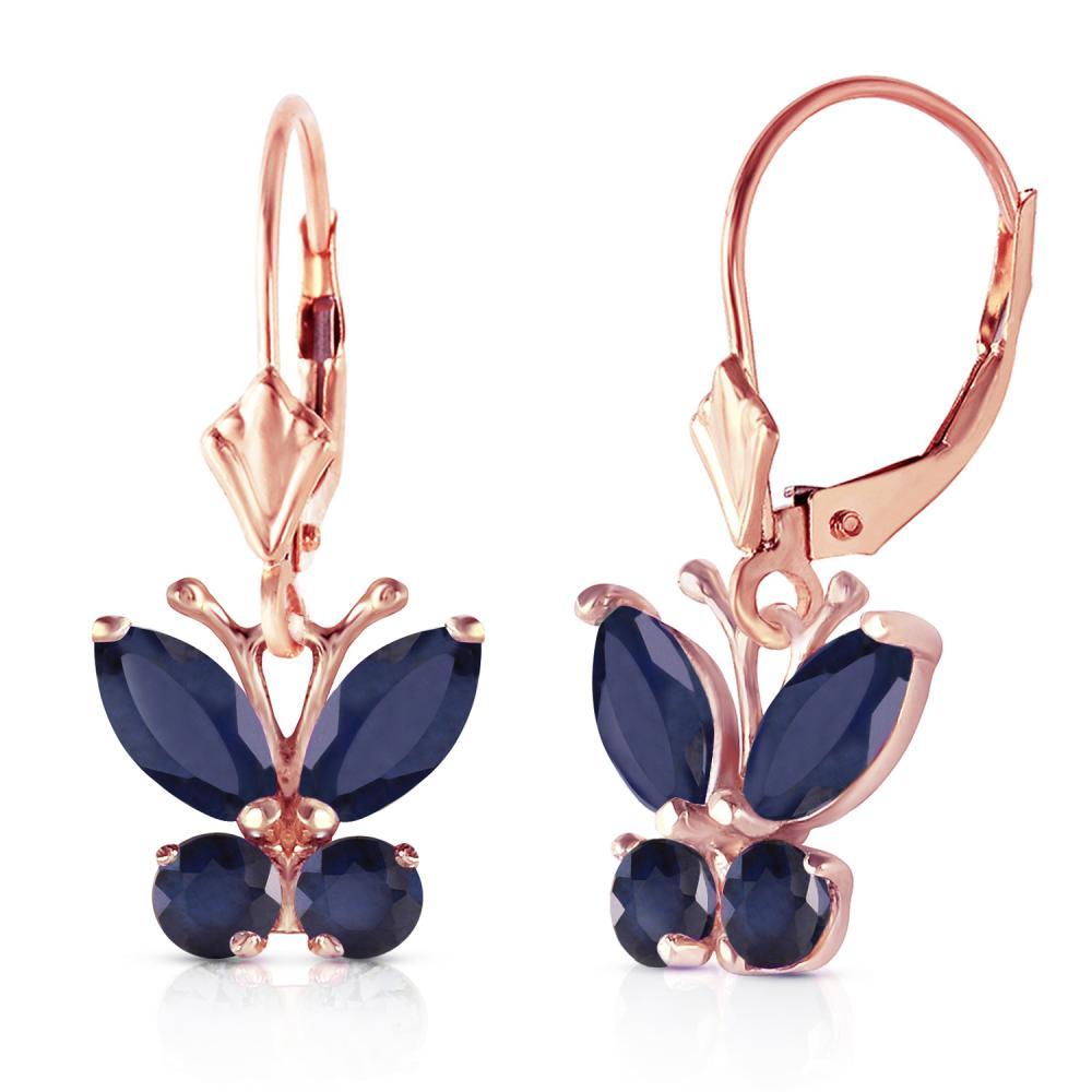Genuine 1.24 ctw Sapphire Earrings Jewelry 14KT Rose Gold - REF-42Z9N