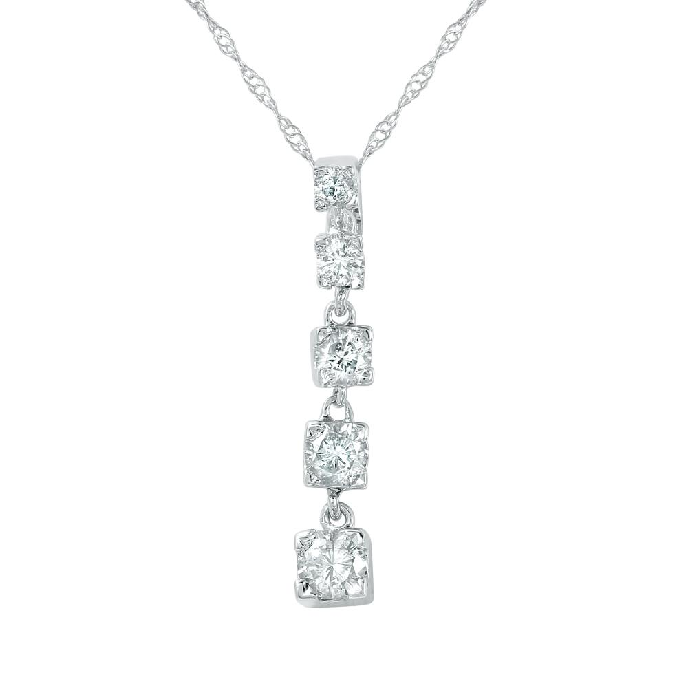 0.50 CTW Diamond Necklace 14K White Gold - REF-50M2F