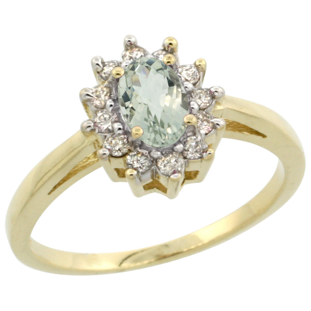 Natural 0.67 ctw Green-amethyst & Diamond Engagement Ring 10K Yellow Gold - REF-38H8W