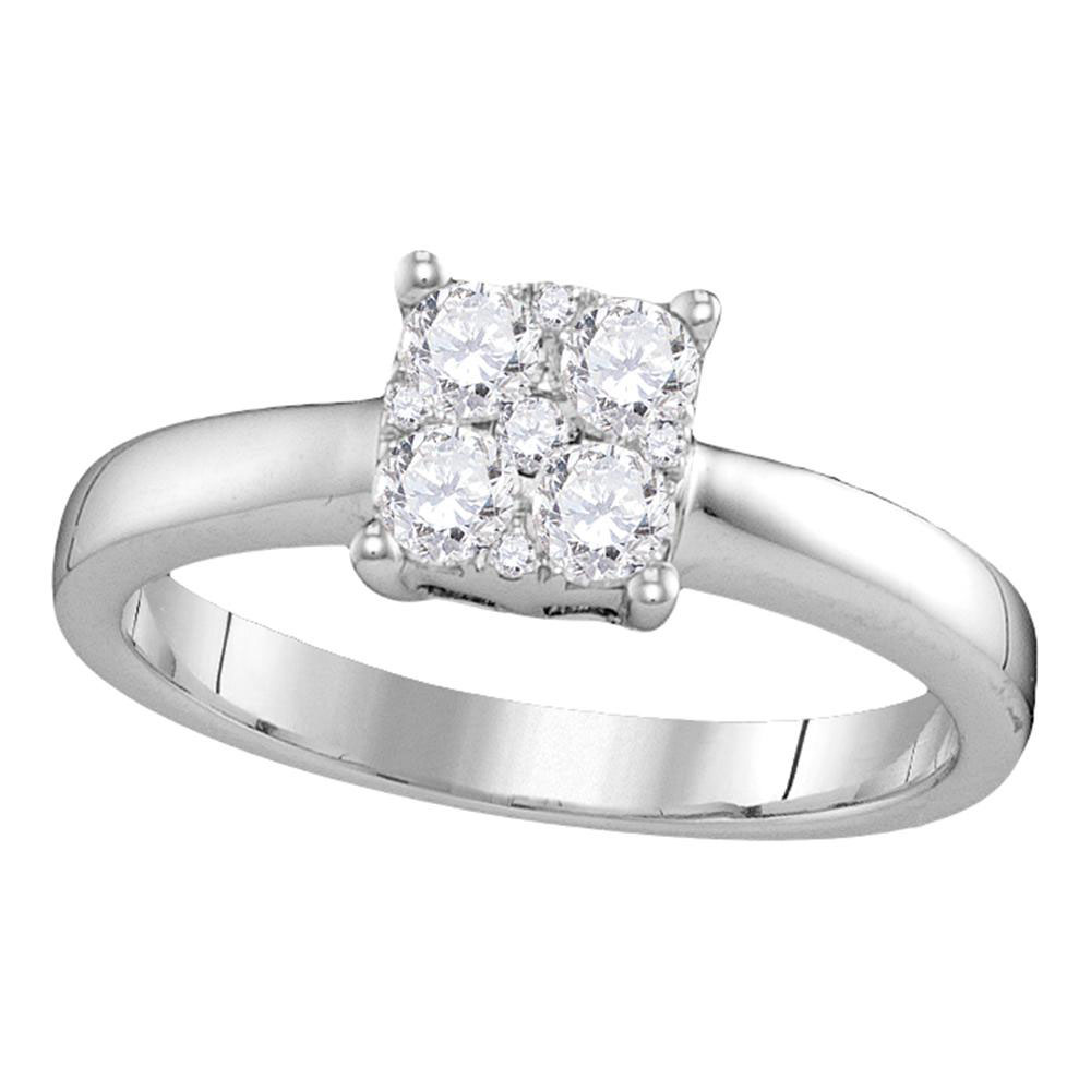 0.43 CTW Diamond Cluster Bridal Engagement Ring 18KT White Gold - REF-112F5N