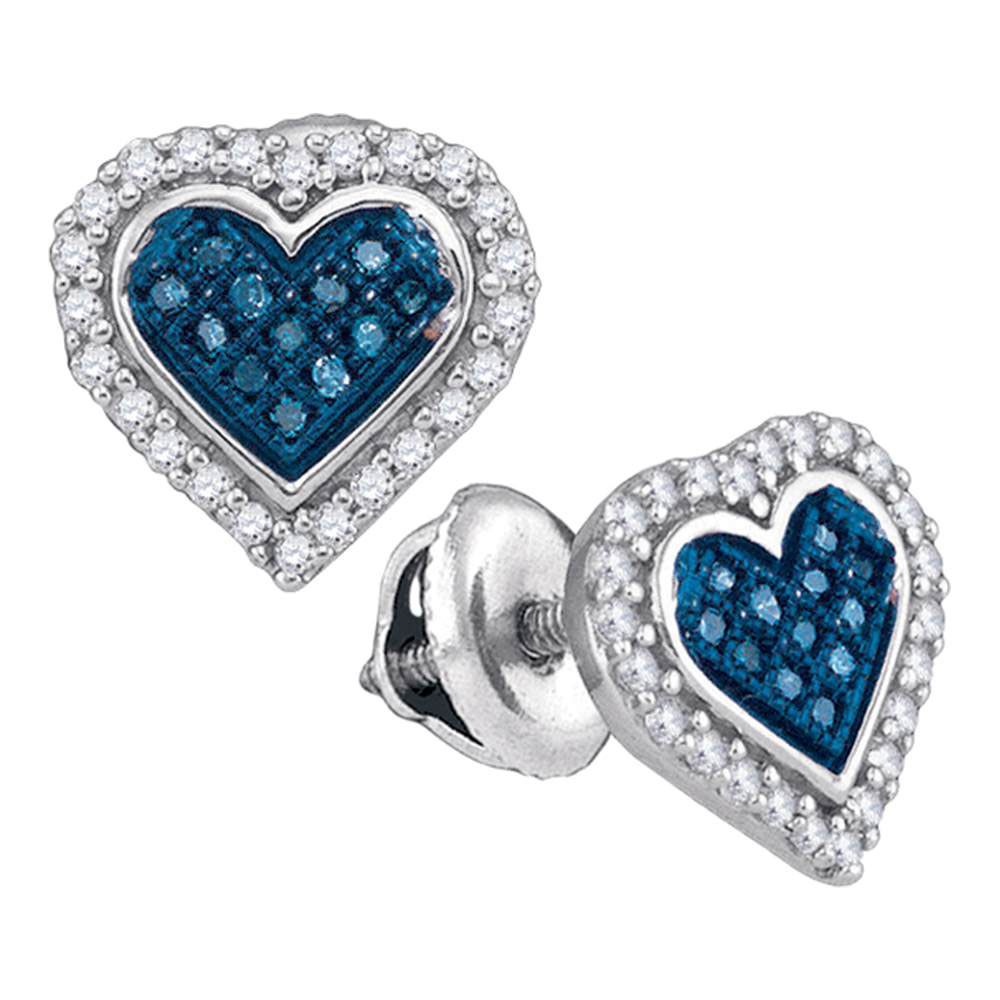 0.25 CTW Blue Color Diamond Heart Love Stud Screwback Earrings 10KT White Gold - REF-19K4W