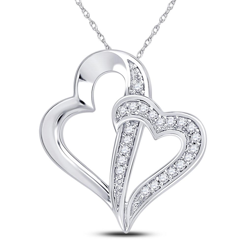 0.05 CTW Diamond Double Linked Heart Pendant 10KT White Gold - REF-8K9W