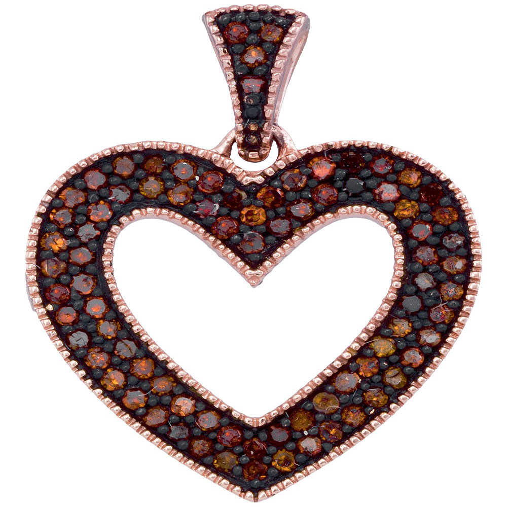 0.25 CTW Red Color Diamond Heart Love Pendant 10KT Rose Gold - REF-28N4F
