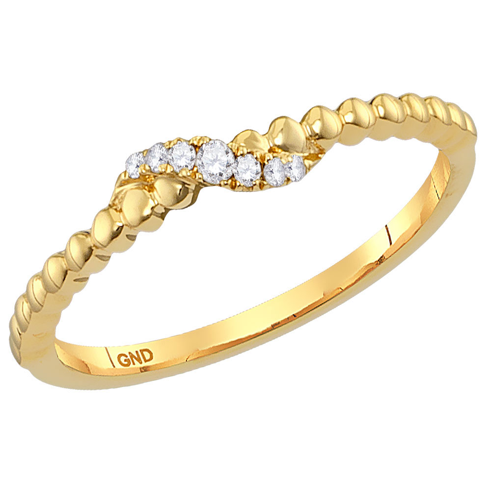 0.04 CTW Diamond Crossover Stackable Ring 10KT Yellow Gold - REF-8H9M