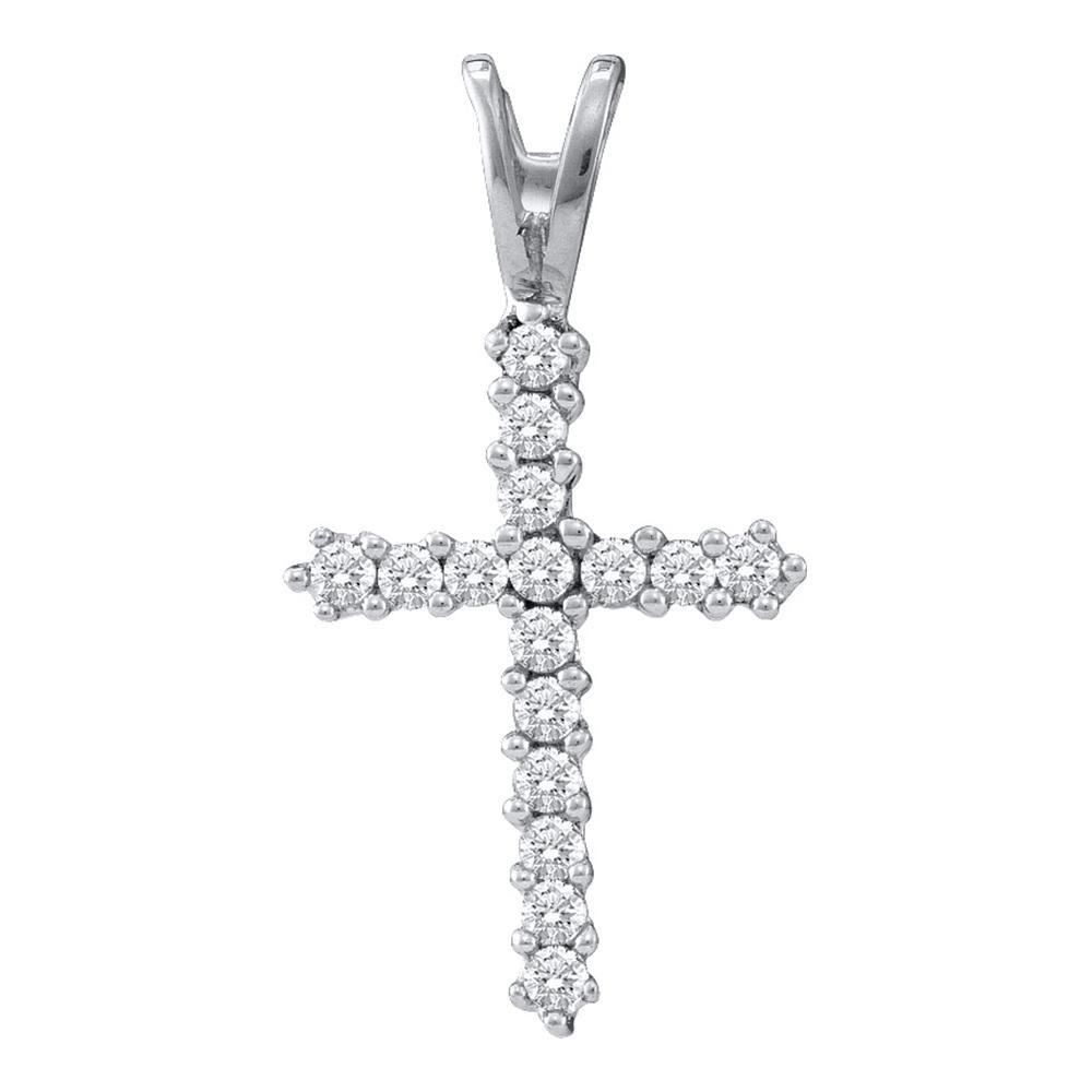 0.25 CTW Diamond Roman Cross Pendant 10KT White Gold - REF-10K5W