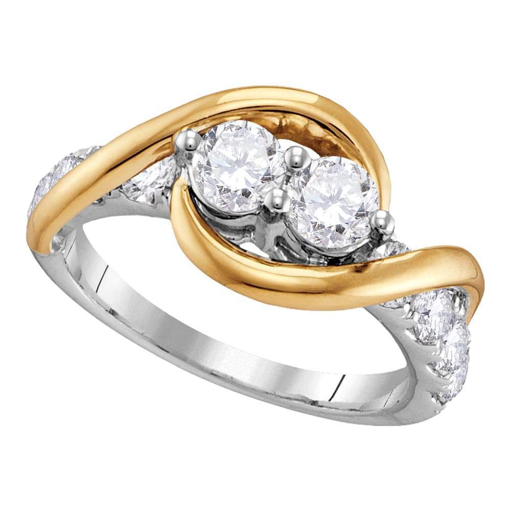 0.50 CTW Diamond 2-stone Bridal Wedding Engagement Ring 14KT Two-tone Gold - REF-56H2M