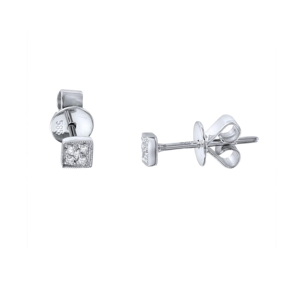 0.03 CTW Diamond Earrings 14K White Gold - REF-11M2F