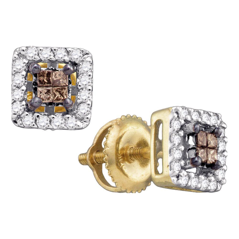 0.30 CTW Cognac-brown Color Princess Diamond Stud Earrings 14k Yellow Gold - REF-25W4K