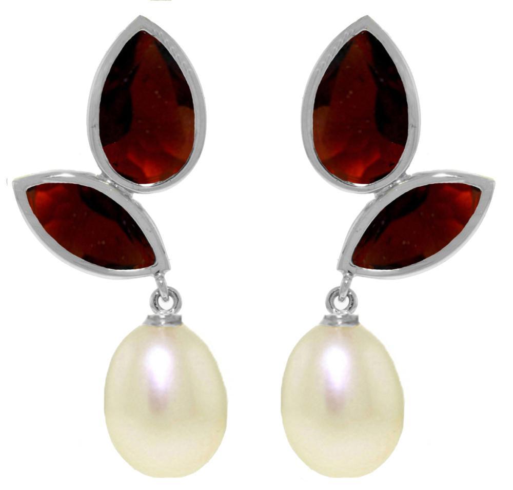 Genuine 16 ctw Pearl, Garnet & Garnet Earrings Jewelry 14KT White Gold - REF-42Z2N