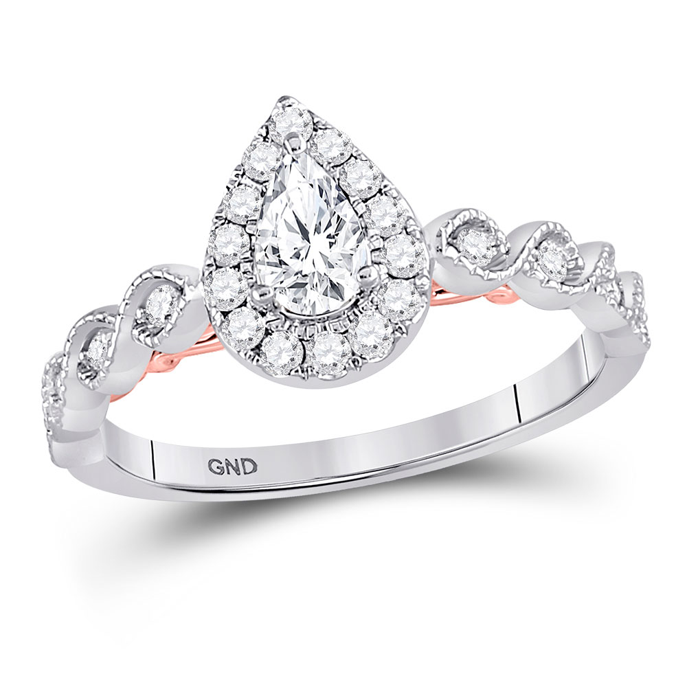 0.71 CTW Pear Diamond Teardrop Bellina Bridal Ring 14KT Two-tone Gold - REF-112X5Y