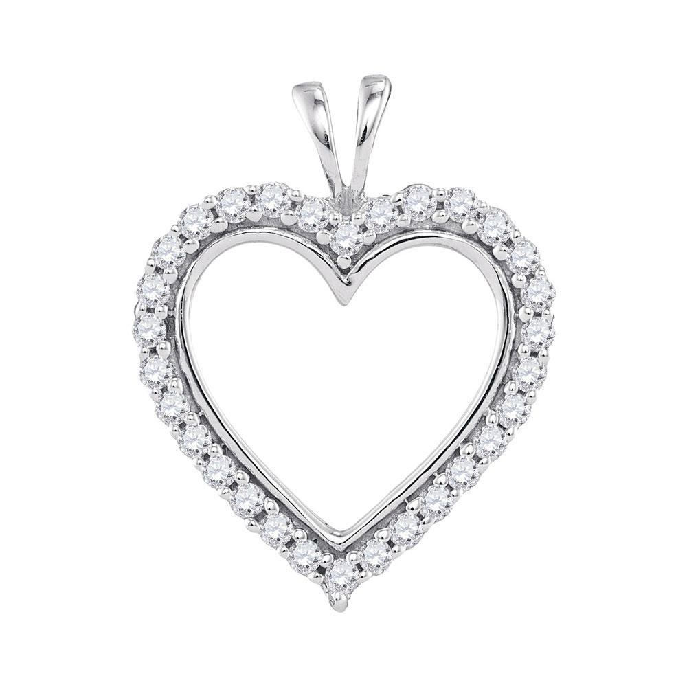 0.25 CTW Diamond Heart Outline Pendant 10KT White Gold - REF-22X4Y
