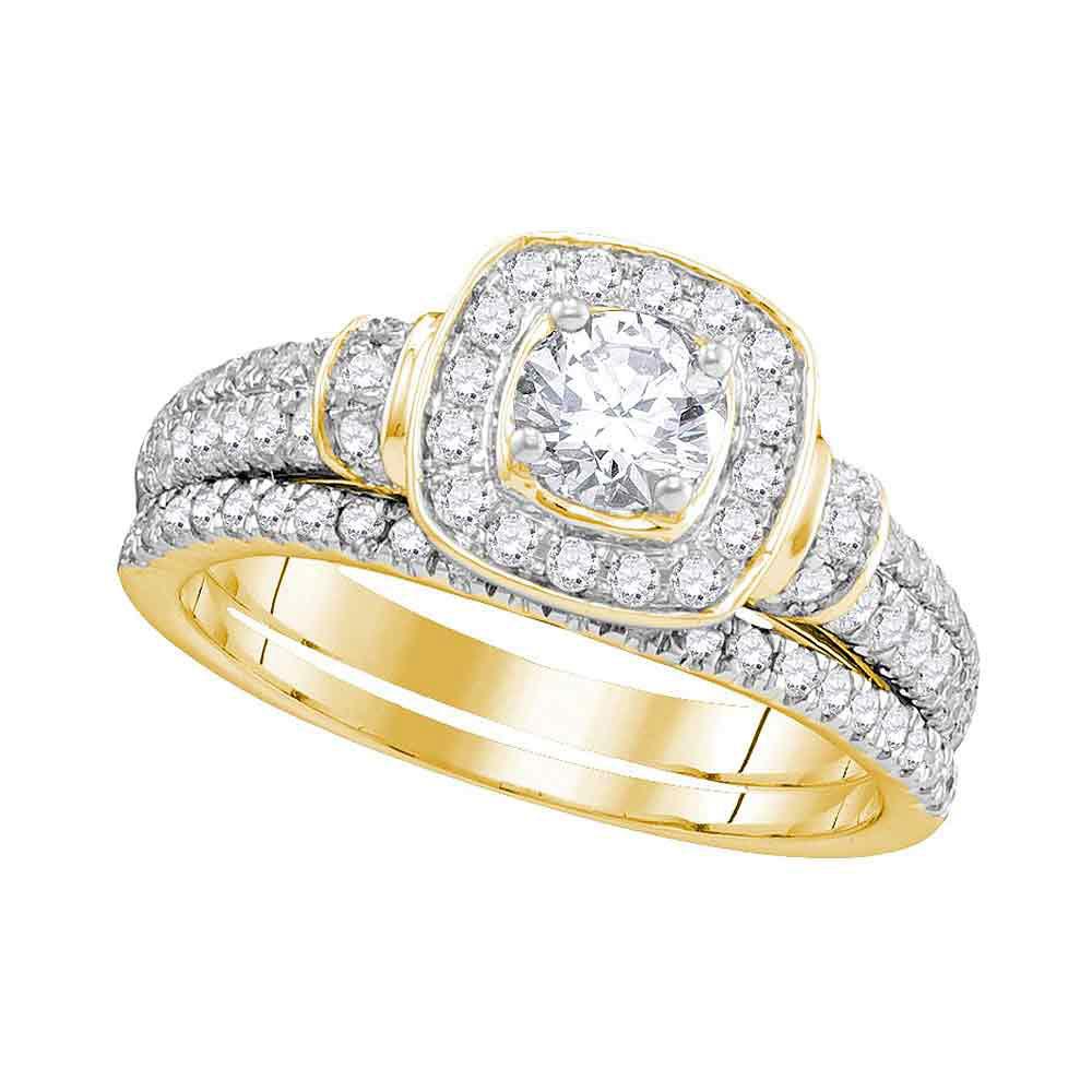 1 CTW Diamond Square Halo Bridal Engagement Ring 14KT Yellow Gold - REF-157K5W