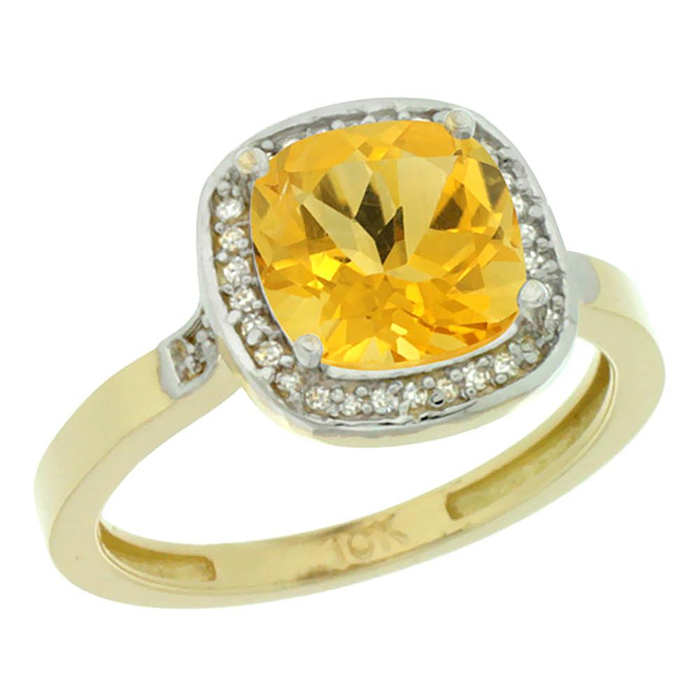 Natural 3.94 ctw Citrine & Diamond Engagement Ring 14K Yellow Gold - REF-38N3G