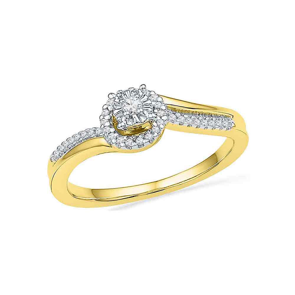 0.16 CTW Diamond Solitaire Halo Bridal Engagement Ring 10KT Yellow Gold - REF-22X4Y