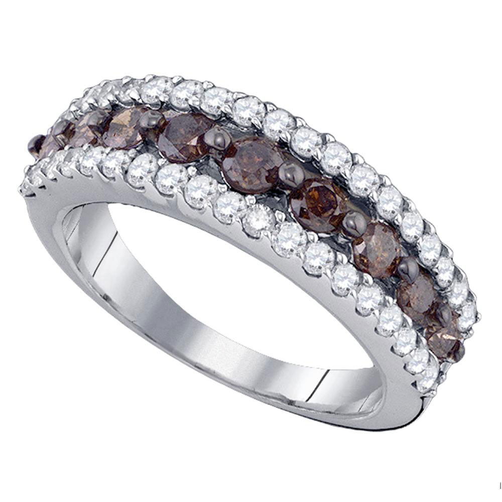 1.5 CTW Cognac-brown Color Diamond Ring 10KT White Gold - REF-64N4F