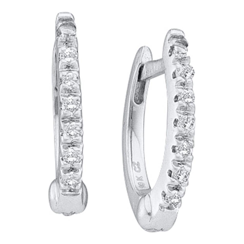 0.08 CTW Prong-set Diamond Single Row Hoop Earrings 14KT White Gold - REF-24X2Y