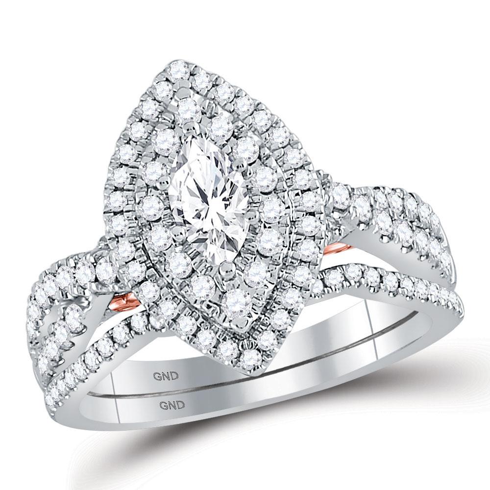 1.04 CTW Diamond Ring 14KT 2Tone Gold - REF-204M5K