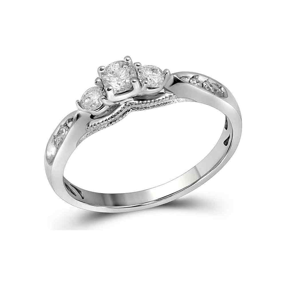 0.38 CTW Diamond 3-stone Bridal Engagement Ring 10KT White Gold - REF-40M4H