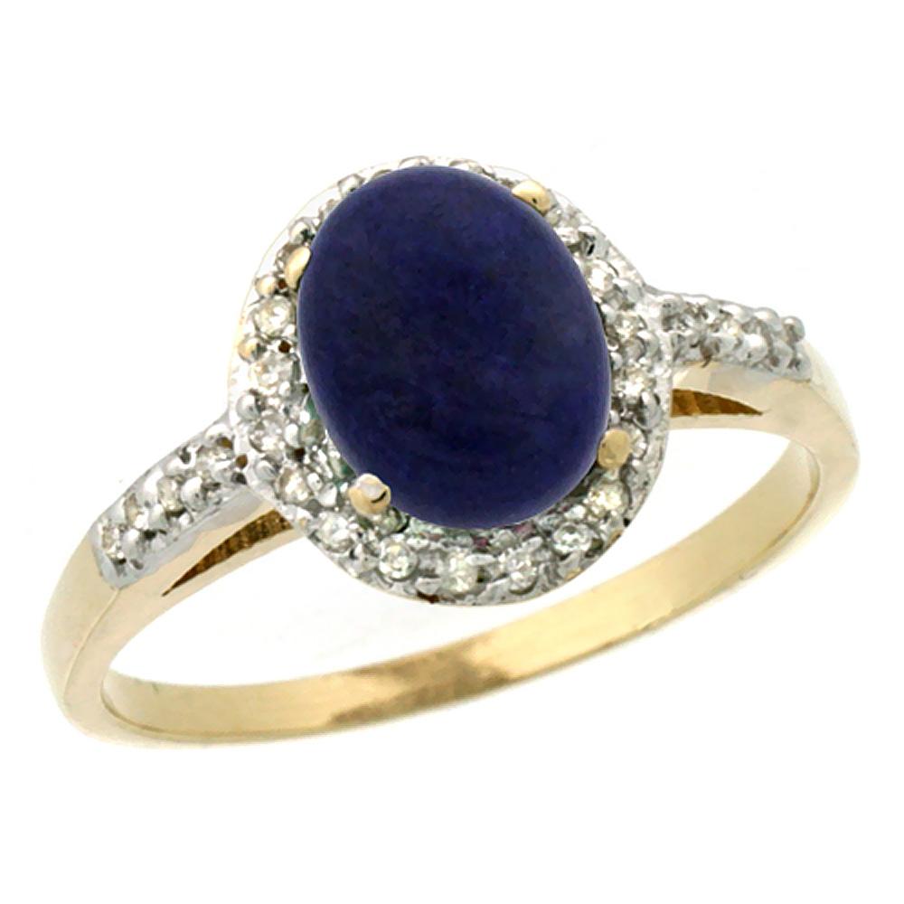 Natural 1.13 ctw Lapis & Diamond Engagement Ring 10K Yellow Gold - REF-24K6R