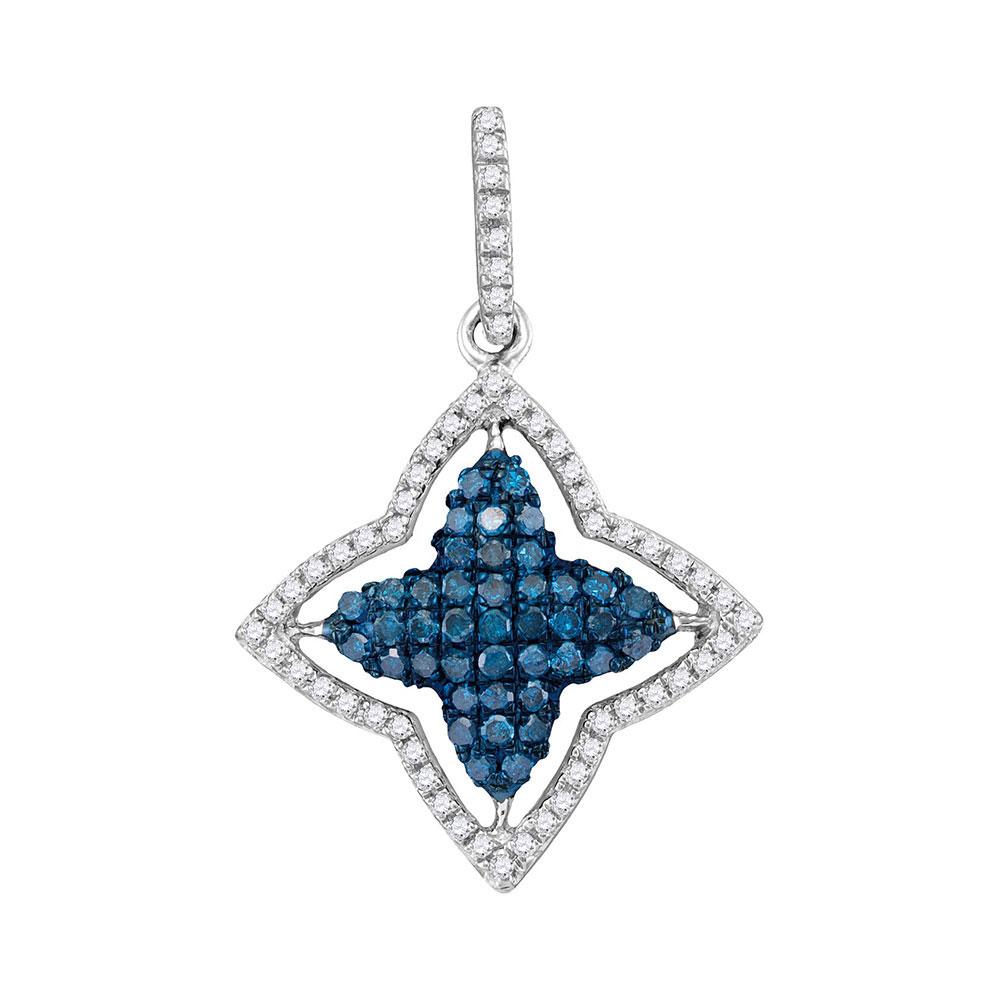 0.50 CTW Blue Color Diamond Star Pendant 10KT White Gold - REF-22M4H