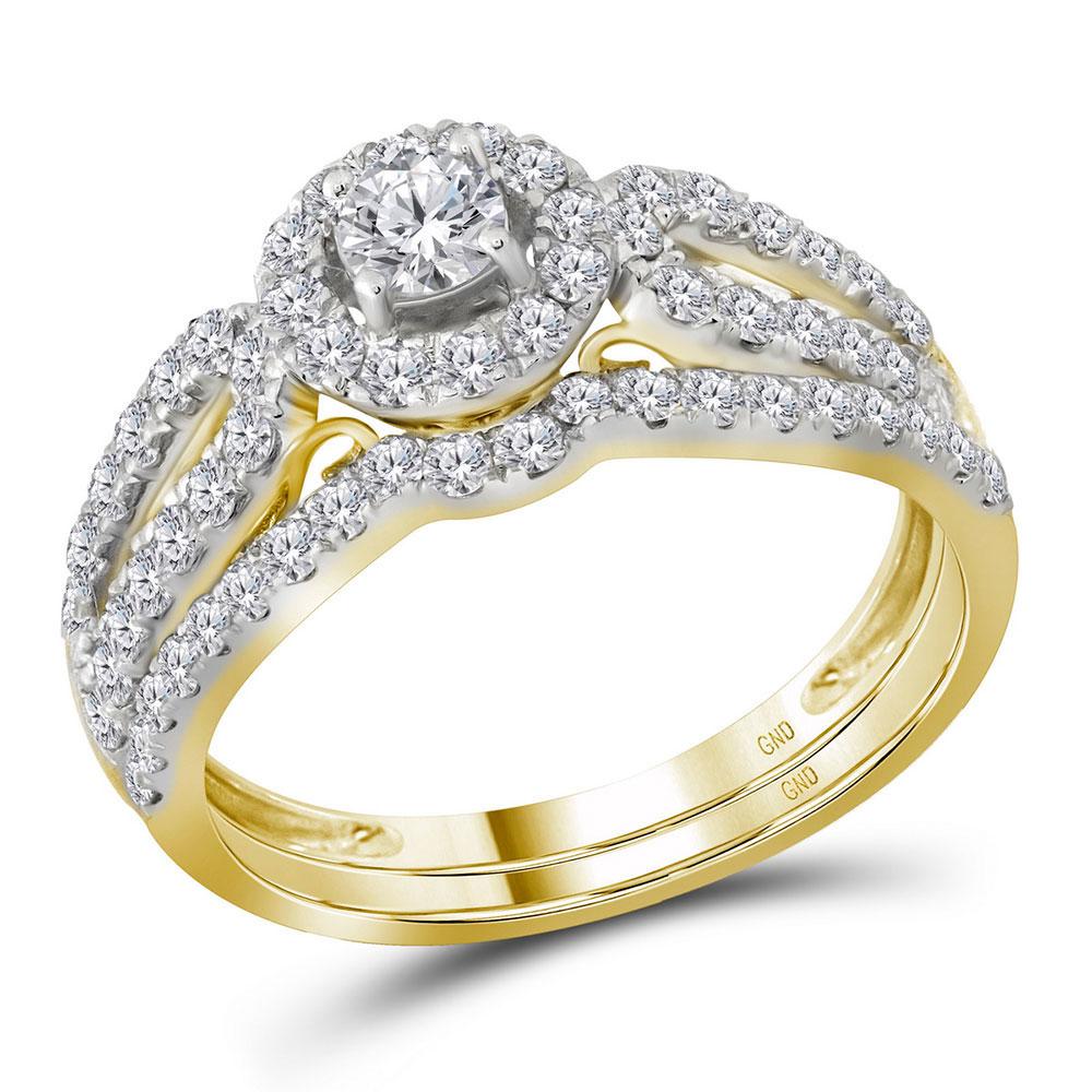 1 CTW Diamond Halo Split-shank Bridal Engagement Ring 14KT Yellow Gold - REF-104W9K