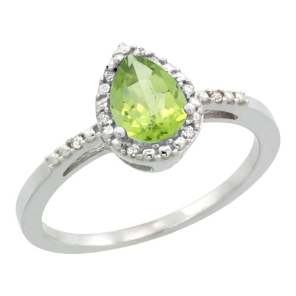 Natural 1.53 ctw peridot & Diamond Engagement Ring 10K White Gold - REF-18G9M