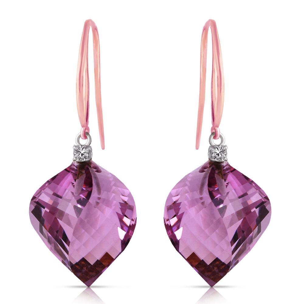 Genuine 21.6 ctw Amethyst & Diamond Earrings Jewelry 14KT Rose Gold - REF-49Y8F
