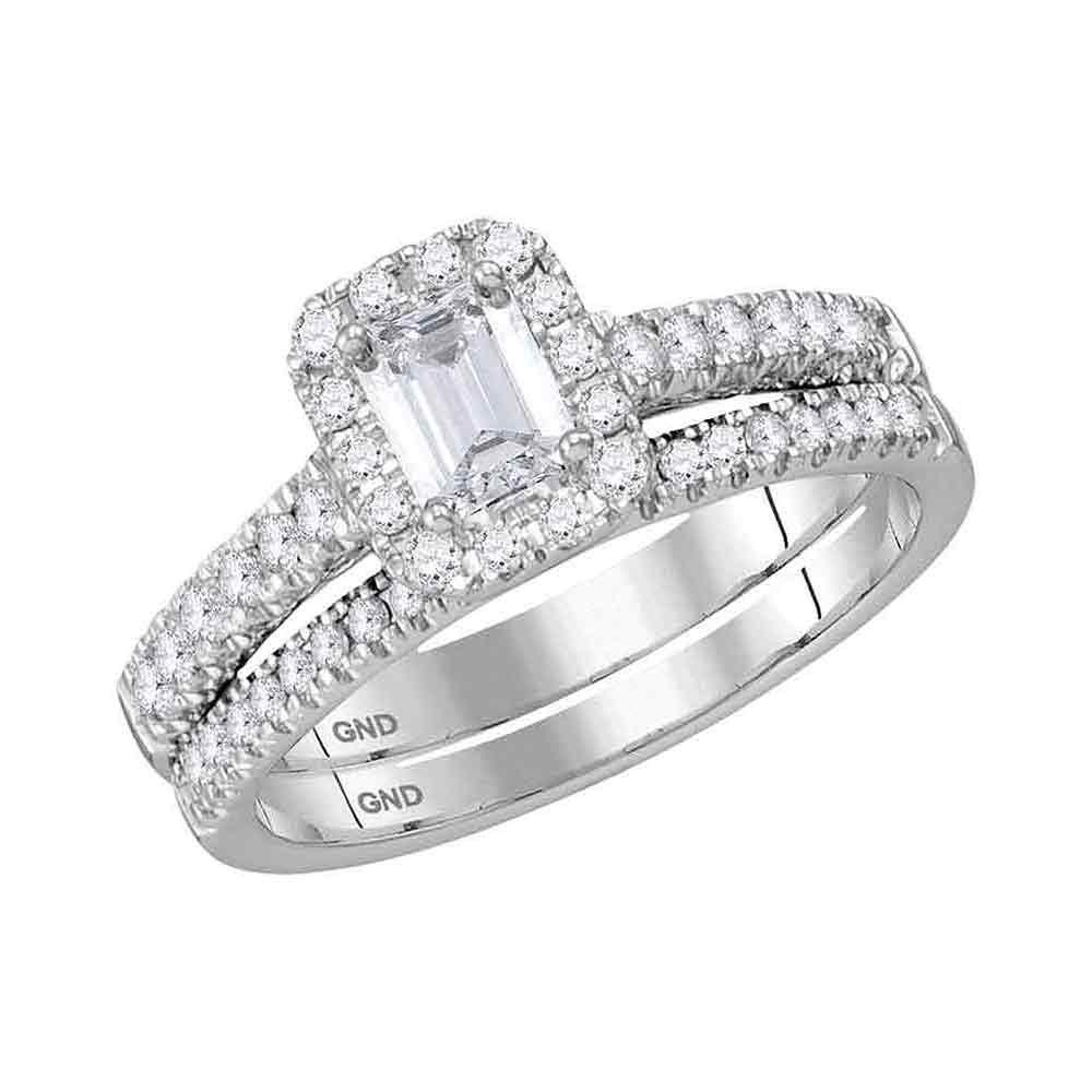 1.03 CTW Emerald Diamond Bridal Wedding Engagement Ring 14KT White Gold - REF-202W3K