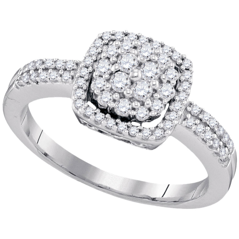 0.50 CTW Diamond Square Cluster Ring 10KT White Gold - REF-41W9K