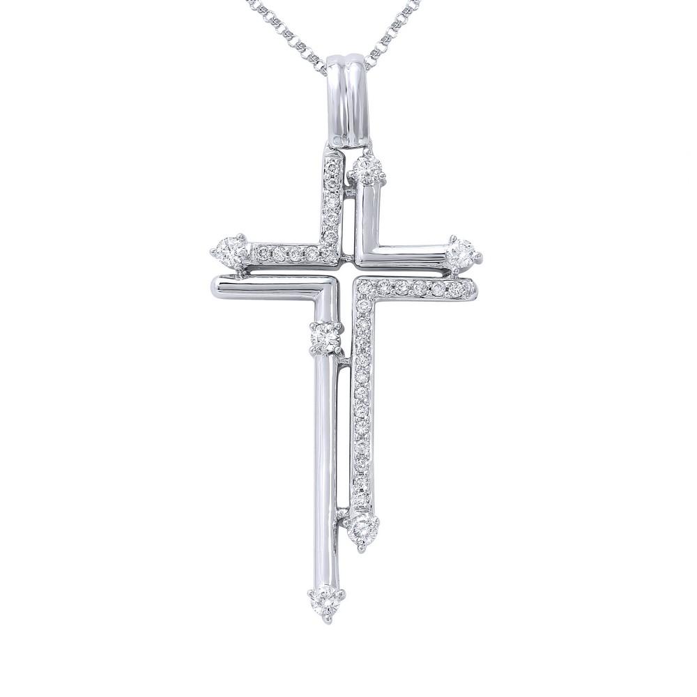 0.60 CTW Diamond Necklace 14K White Gold - REF-56M2F