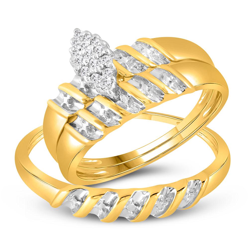 0.11 CTW Diamond Cluster Bridal Wedding Trio Mens Ring 10KT Yellow Gold - REF-28K4W