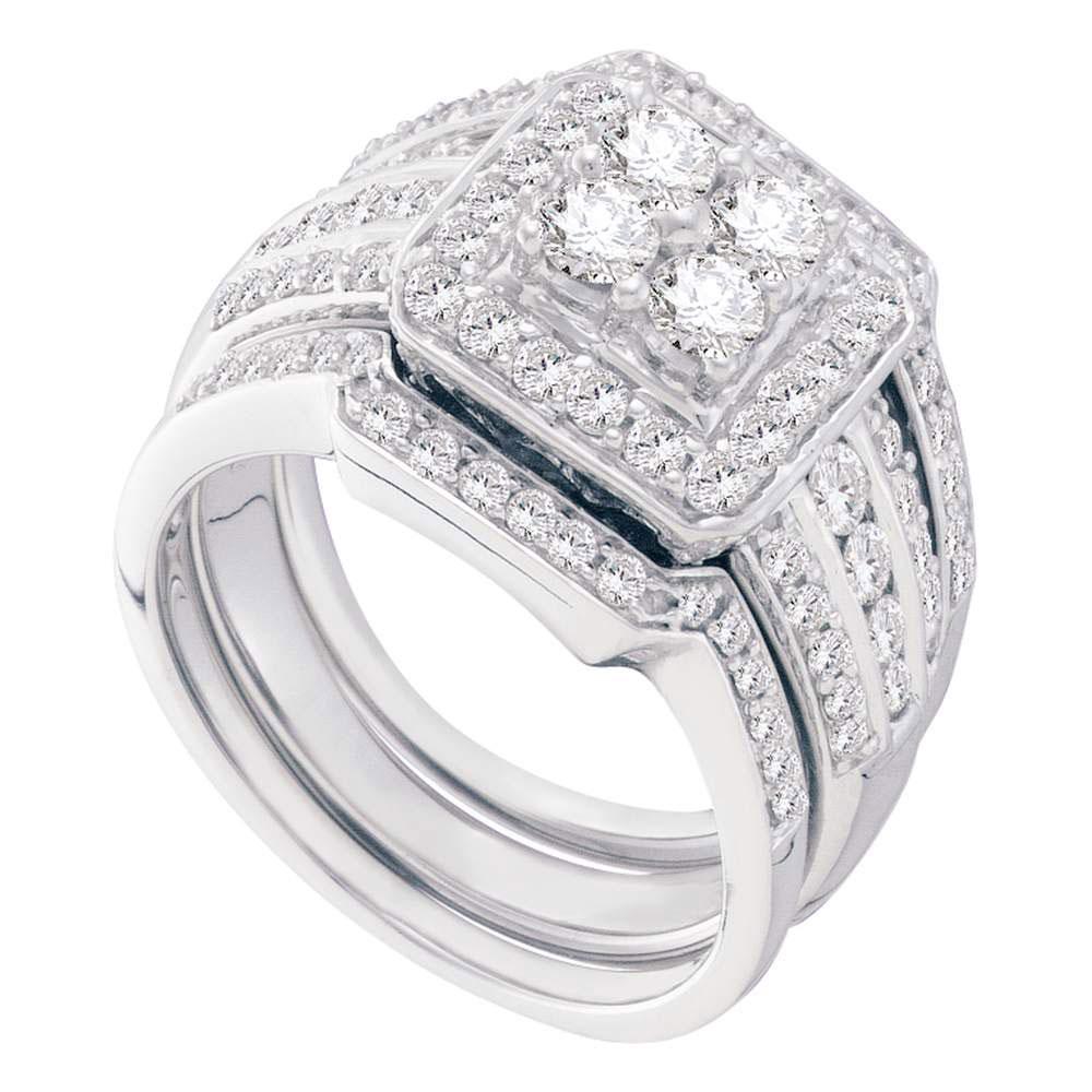 1.51 CTW Diamond Halo 3-Piece Bridal Engagement Ring 14KT White Gold - REF-194K9W