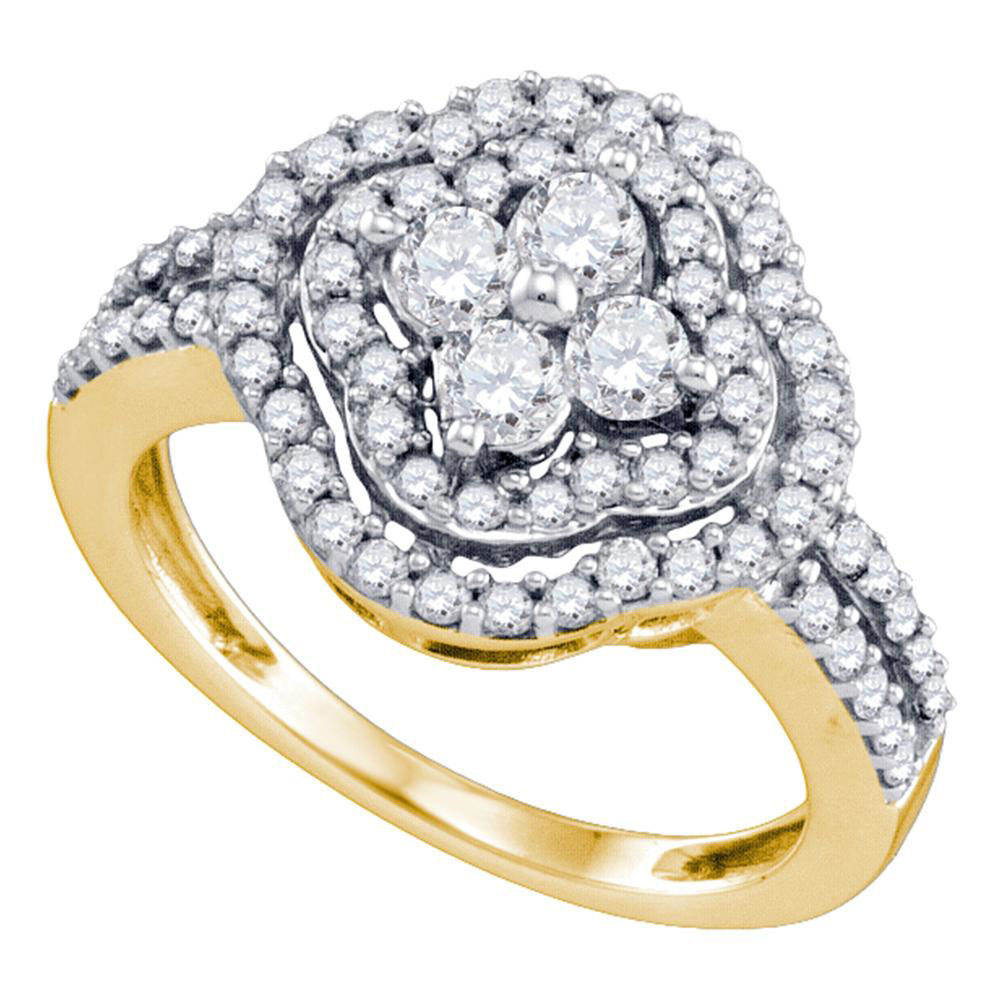 1.04 CTW Diamond Cluster Ring 14KT Yellow Gold - REF-97N4F