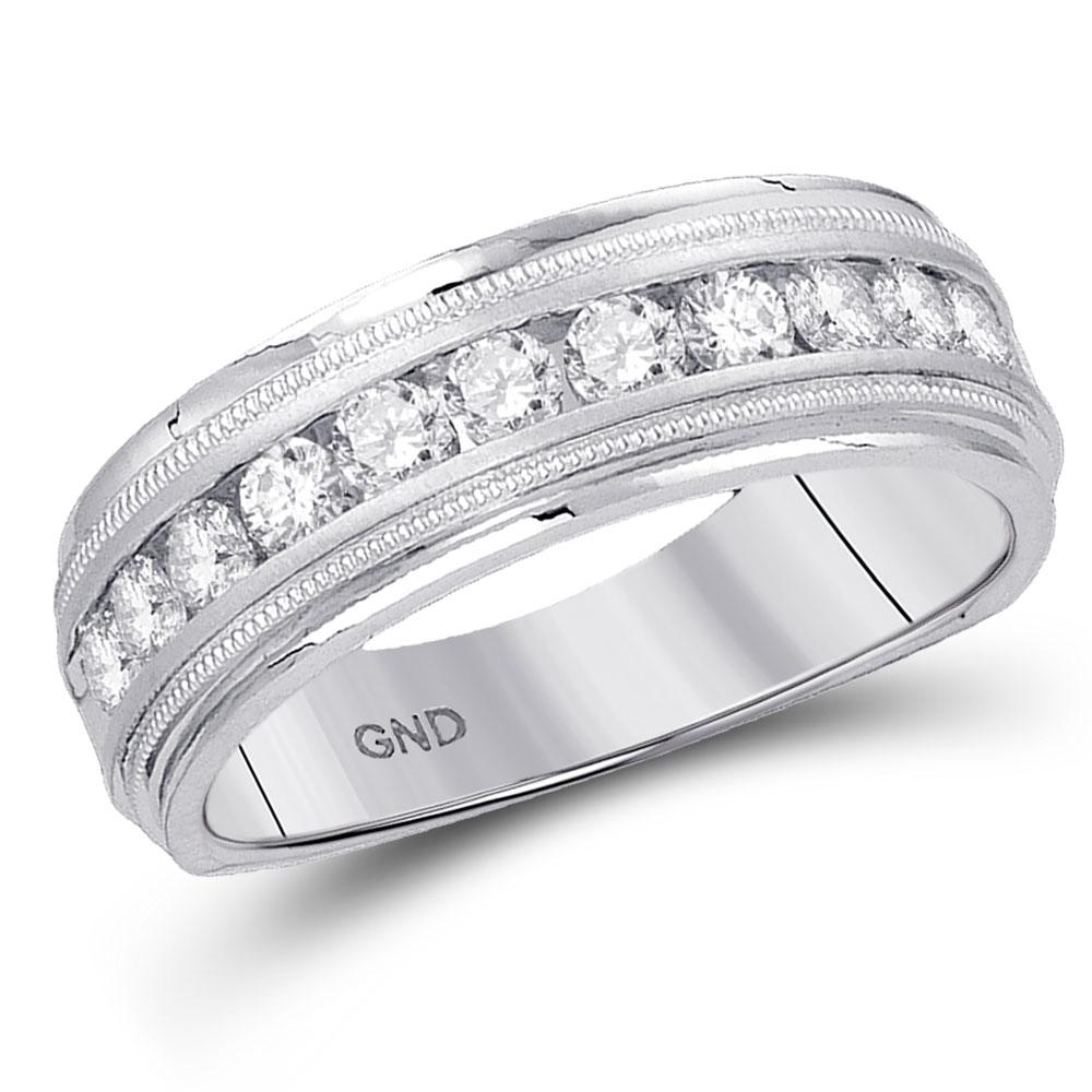 0.25 CTW Mens Diamond Comfort-fit Wedding Anniversary Ring 10KT White Gold - REF-37M5H