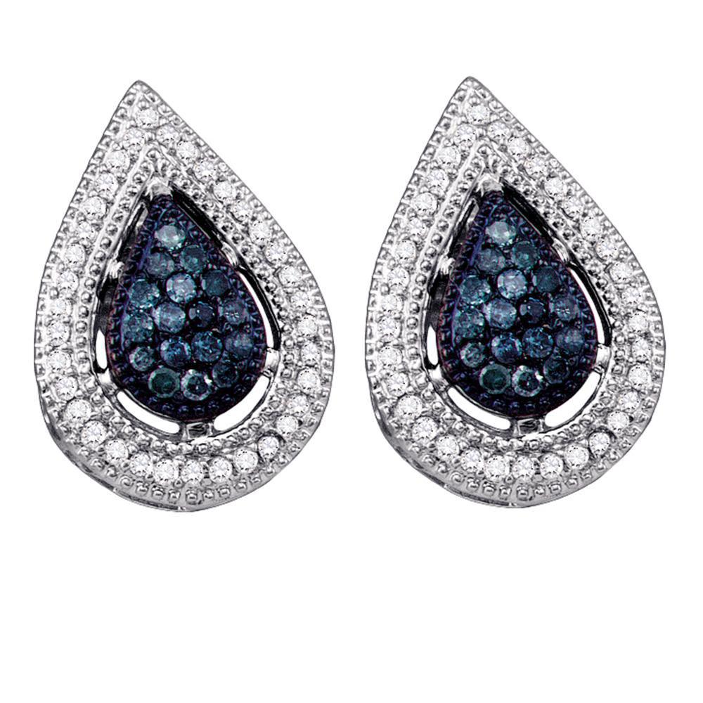 0.40 CTW Blue Color Diamond Teardrop Cluster Earrings 10KT White Gold - REF-26W9K