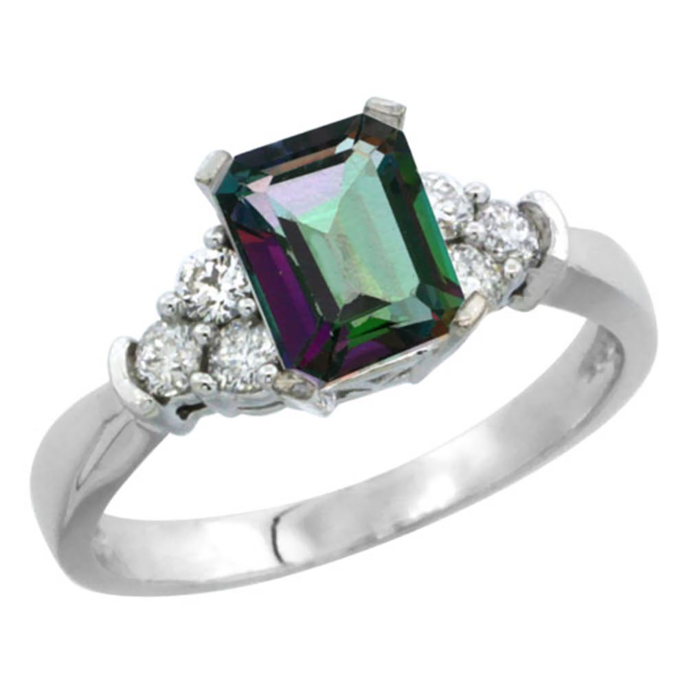 Natural 1.48 ctw mystic-topaz & Diamond Engagement Ring 14K White Gold - REF-52F3N