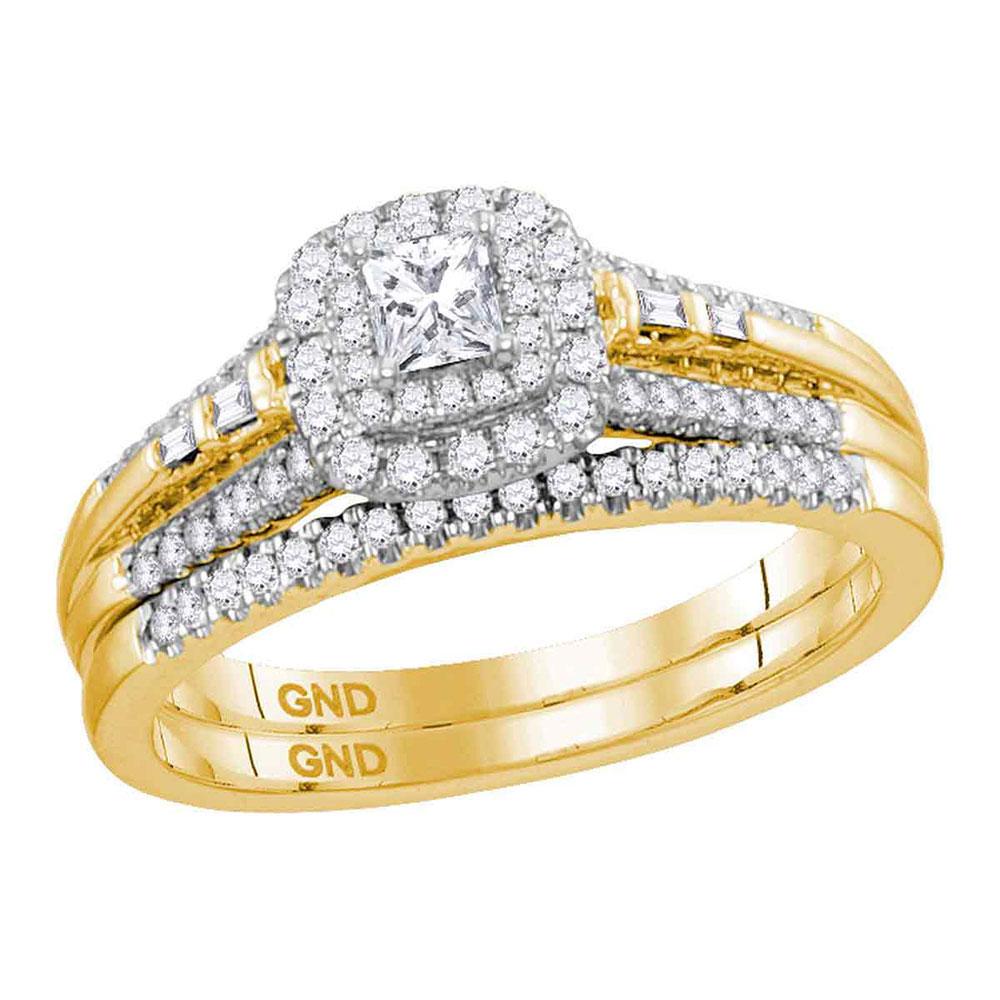 0.51 CTW Princess Diamond Bridal Engagement Ring 14KT Yellow Gold - REF-89W9K