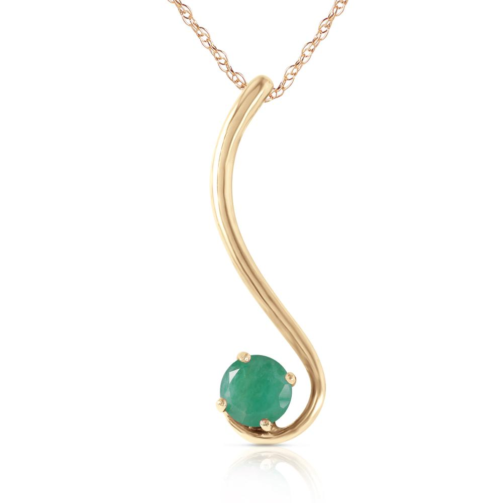 Genuine 0.55 ctw Emerald Necklace Jewelry 14KT Yellow Gold - REF-30K2V
