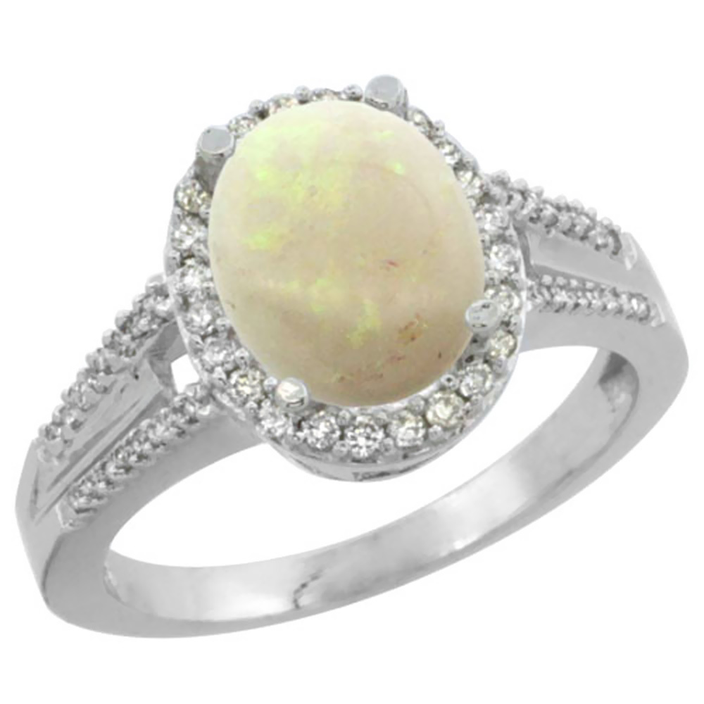 Natural 1.73 ctw opal & Diamond Engagement Ring 14K White Gold - REF-53M7H