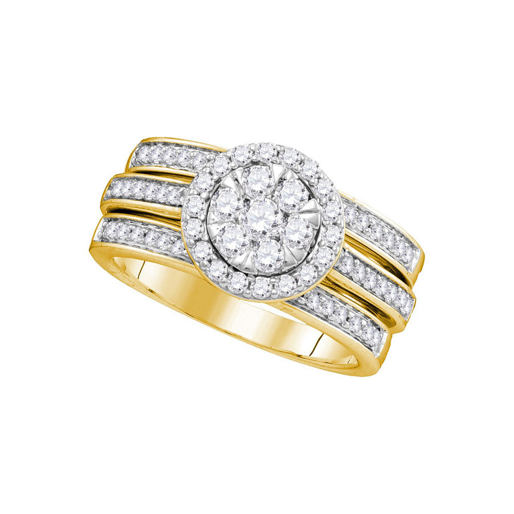 1 CTW Diamond Cluster Bridal Engagement Ring 14KT Yellow Gold - REF-134Y9X