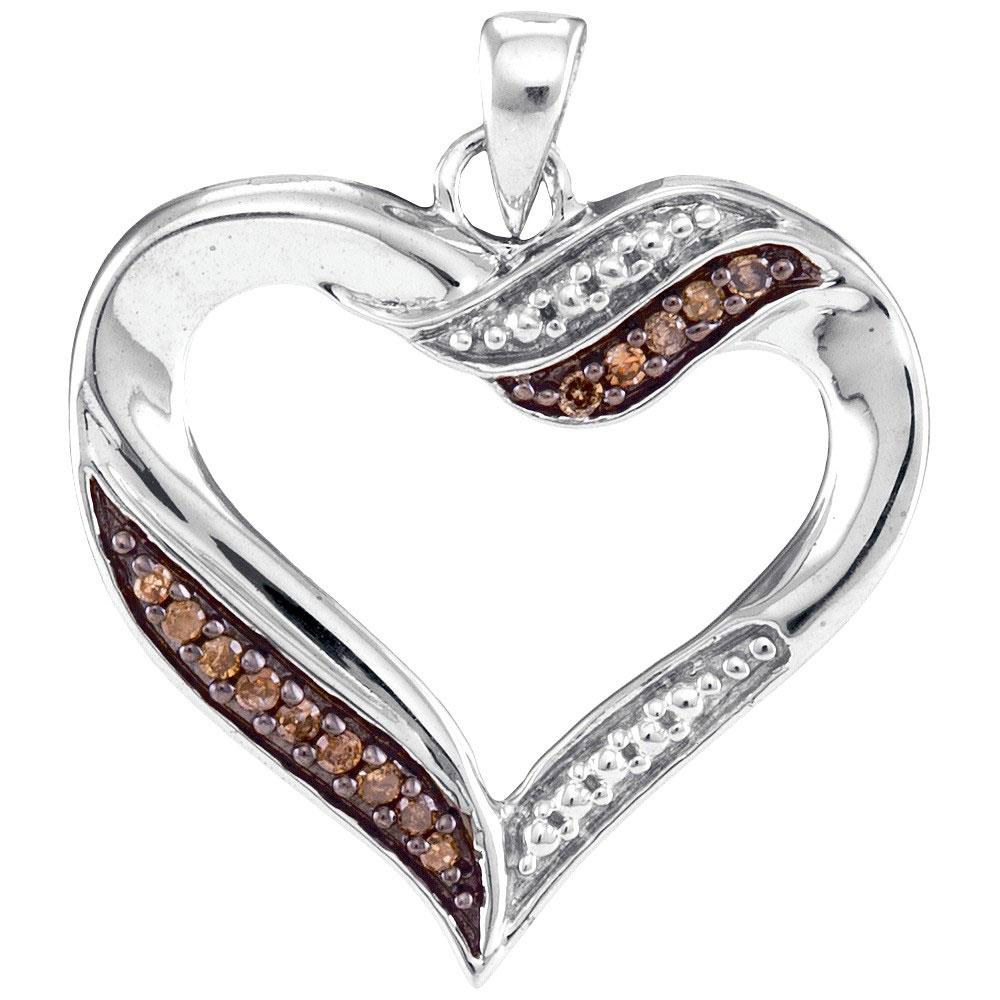 0.10 CTW Cognac-brown Color Diamond Heart Pendant 10KT White Gold - REF-14X9Y