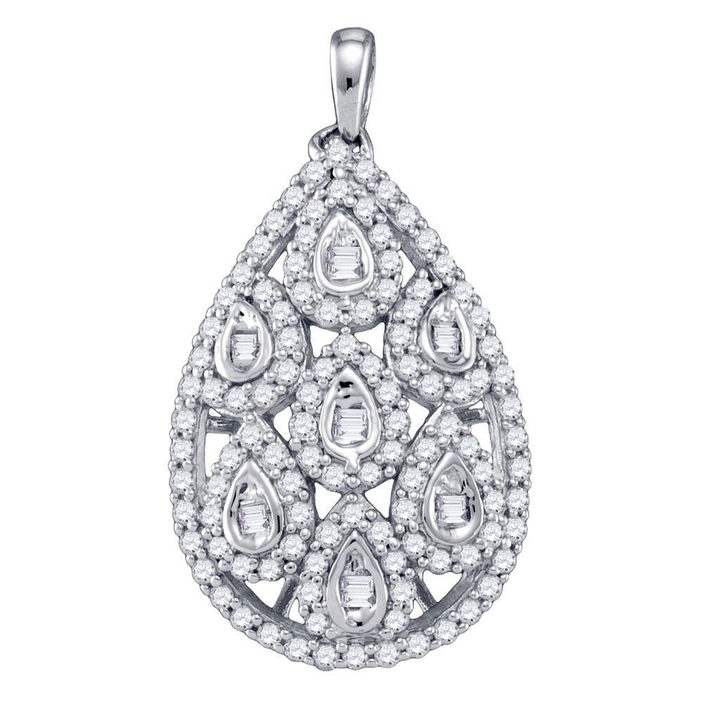 0.94 CTW Diamond Teardrop Pendant 10KT White Gold - REF-67Y4X