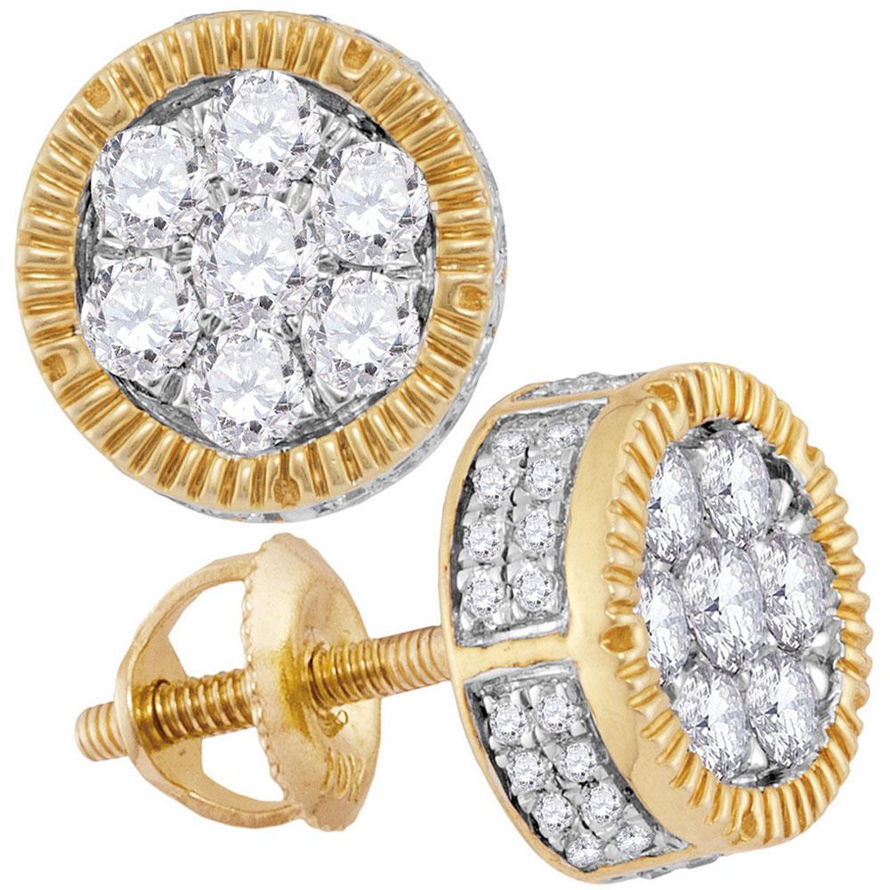 0.85 CTW Mens Mens Diamond Cluster Milgrain Earrings 10KT Yellow Gold - REF-57W2K