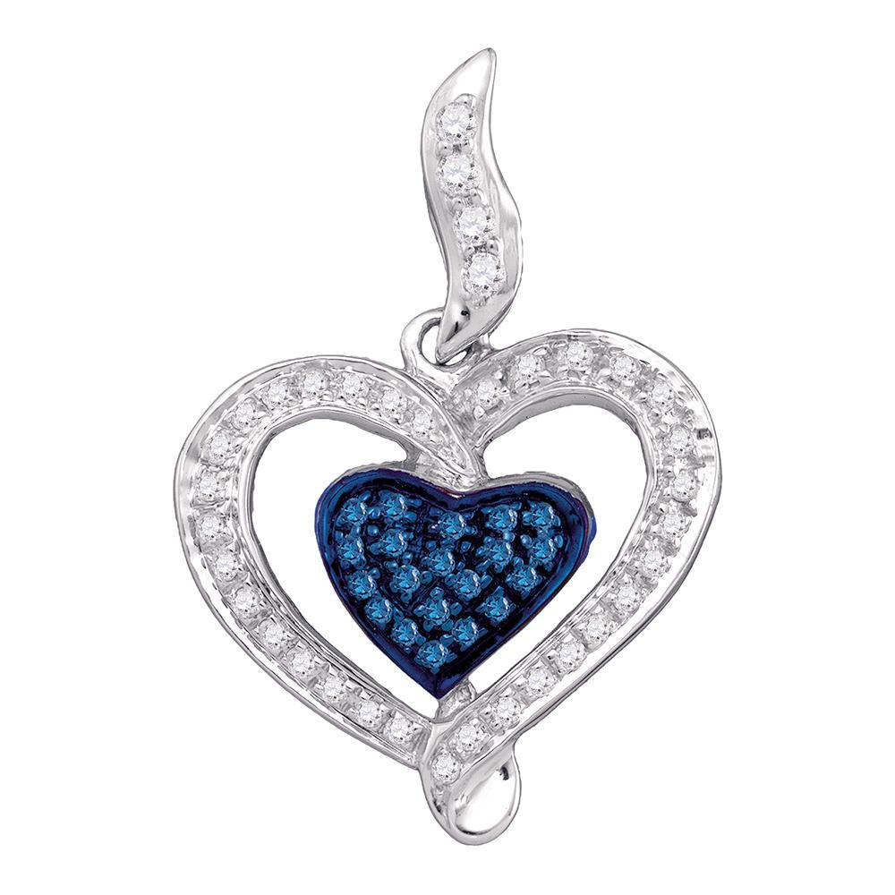 0.27 CTW Blue Color Diamond Heart Pendant 10KT White Gold - REF-24Y2X