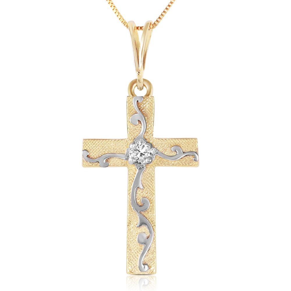 Genuine 0.05 ctw Diamond Anniversary Necklace Jewelry 14KT Yellow Gold - REF-36V2W