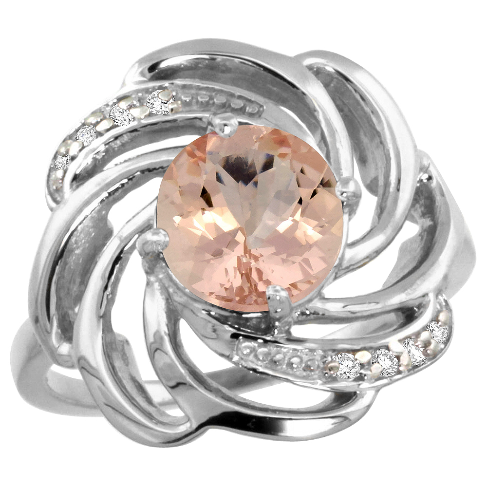 Natural 1.75 ctw morganite & Diamond Engagement Ring 14K White Gold - REF-70X5A